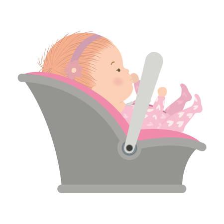 Cute baby girl with pajamas design, Child newborn childhood kid innocence and little theme Vector illustration Stock Illustratie