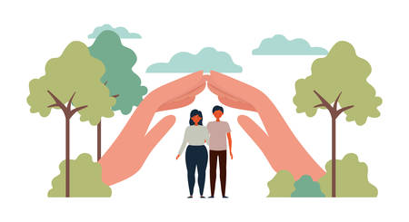 Woman and man protesting design, Human rights peace freedom international help social law and equality theme Vector illustration