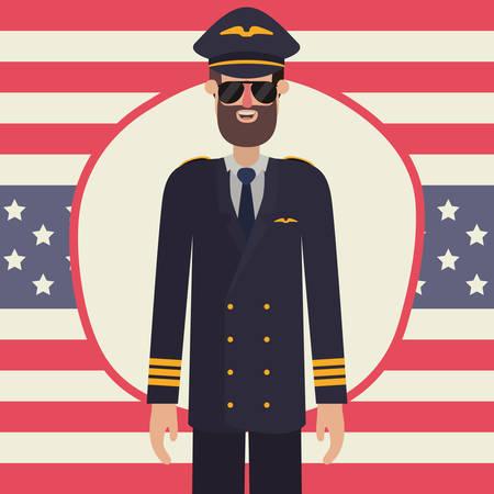Pilot man design, Labor day usa america september national holiday and celebration theme Vector illustration