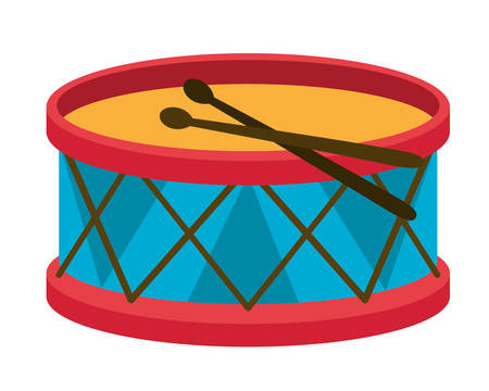 Drum instrument design, Toy childhood play fun kid game gift and object theme Vector illustration