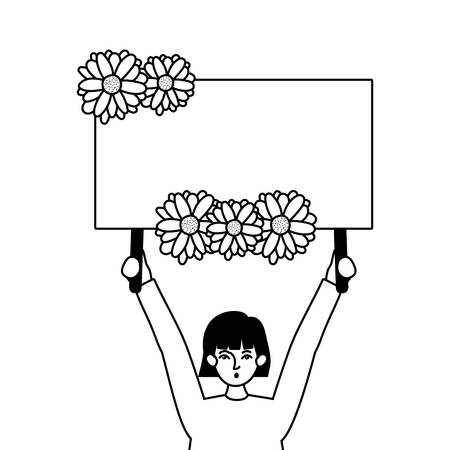 Woman protesting design, Human rights peace freedom international help social law and equality theme Vector illustration 向量圖像