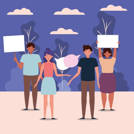 People protesting design, Human rights peace freedom international help social law and equality theme Vector illustration