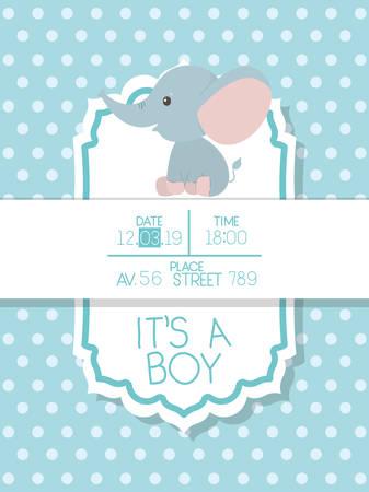Babypartyeinladung mit Elefantenkarikaturdesign, Partykartendekorationsliebesfeierankunft und geborenem Thema Vektorillustration Vektorgrafik