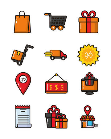 bundle of commercial set icons vector illustration design Ilustrace