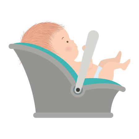 Cute baby boy with basket design, Child newborn childhood kid innocence and little theme Vector illustration