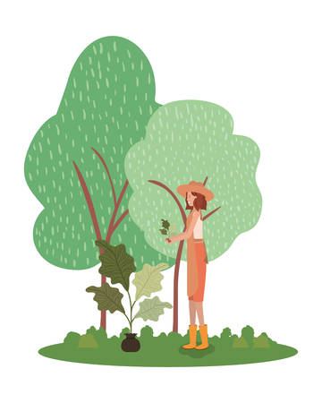 Avatar woman and gardening concept design, Garden planting nature ecology outdoors and floral theme Vector illustration