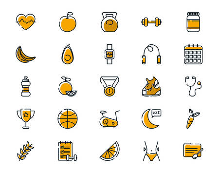 Icon set design, Healthy lifestyle fitness bodybuilding bodycare activity exercise and diet theme Vector illustration