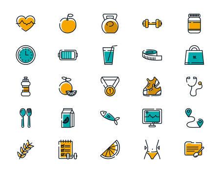 Icon set design, Healthy lifestyle fitness bodybuilding bodycare activity exercise and diet theme Vector illustration Ilustración de vector