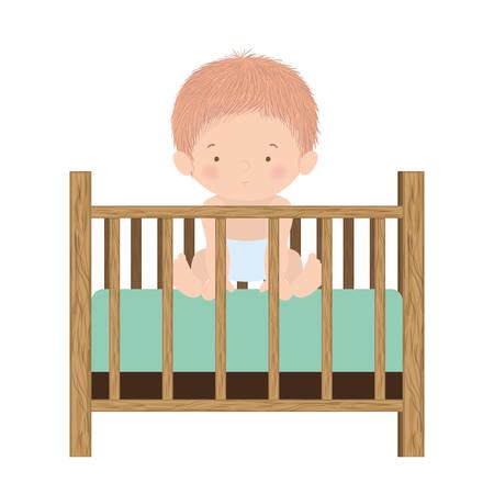 Cute baby boy inside cradle design, Child newborn childhood kid innocence and little theme Vector illustration