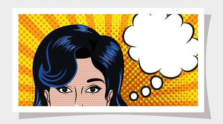 Retro and pop art woman design, Girl vintage face beauty classic fashion female style and lady theme Vector illustration