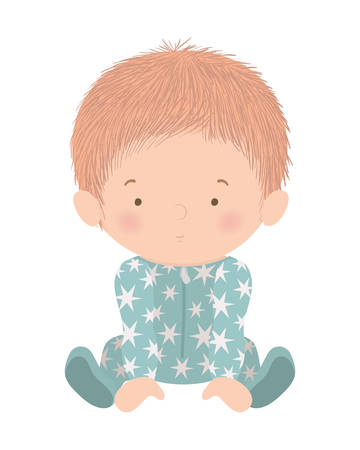 Cute baby boy with pajamas design, Child newborn childhood kid innocence and little theme Vector illustration