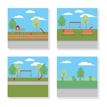 Parks design, Landscape nature outdoor beautiful season spring and summer theme Vector illustration Illusztráció