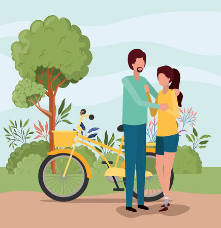 Couple of woman and man with bike design, Relationship love romance holiday and together theme Vector illustration
