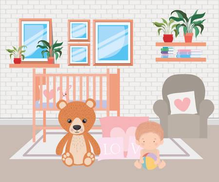 Cute baby boy and teddy bear design, Child newborn childhood kid innocence and little theme Vector illustration Vettoriali