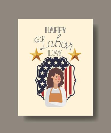 Gardener woman design, Labor day usa america september national holiday and celebration theme Vector illustration