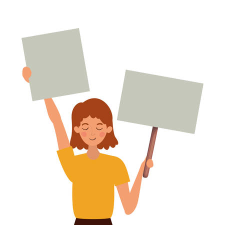 Woman protesting design, Human rights peace freedom international help social law and equality theme Vector illustration