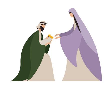 Happy epiphany day design, religion christianity god faith spirituality belief and pray theme Vector illustration Foto de archivo - 135923737
