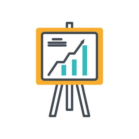 paperboard with statistics bars icon vector illustration design Illustration