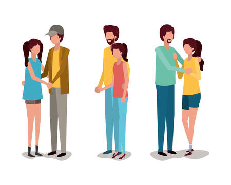 Couples of girl and boy design, Relationship love romance holiday and together theme Vector illustration