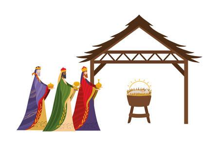 Happy epiphany day design, religion christianity god faith spirituality belief and pray theme Vector illustration Foto de archivo - 135985387