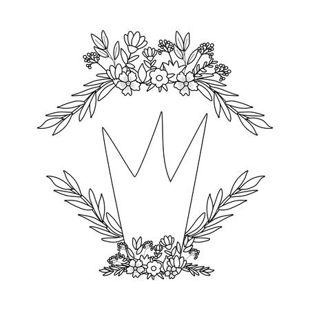 Royal crown with flowers and leaves wreath design, King queen luxury jewelry insignia and emperor theme Vector illustration