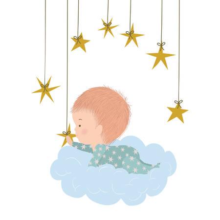Cute baby boy over cloud and stars design, Child newborn childhood kid innocence and little theme Vector illustration Vektorgrafik