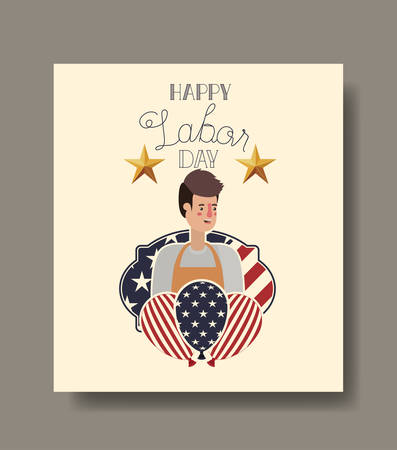 Gardener man design, Labor day usa america september national holiday and celebration theme Vector illustration