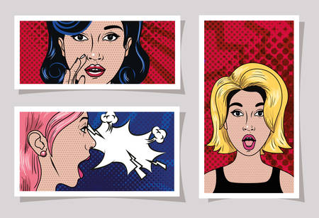Retro and pop art women design, Girl vintage face beauty classic fashion female style and lady theme Vector illustration