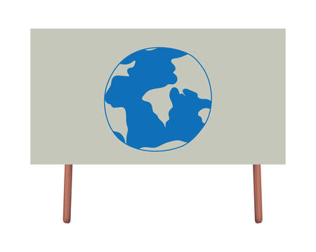 Planet sphere drawing in banner design, Continent earth world globe ocean and universe theme Vector illustration