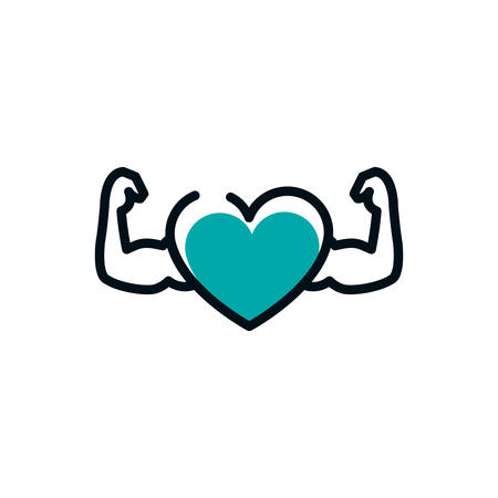 Heart with muscles design, Healthy lifestyle fitness bodybuilding bodycare activity exercise and diet theme Vector illustration