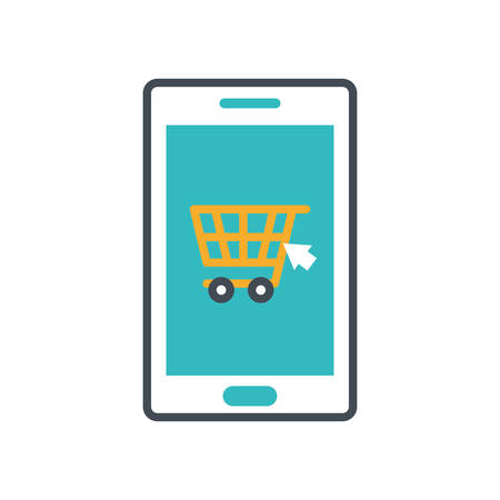 smartphone with shopping cart icon vector illustration design