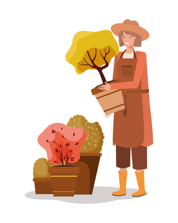 Avatar woman and gardening concept design, Garden planting nature ecology outdoors and floral theme Vector illustration Stok Fotoğraf - 136399944