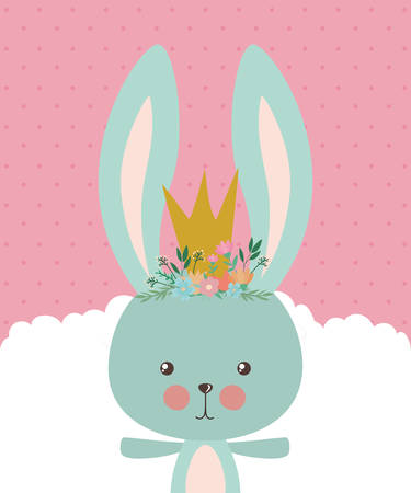 Cute rabbit cartoon with crown design, Animal zoo life nature character childhood and adorable theme Vector illustration