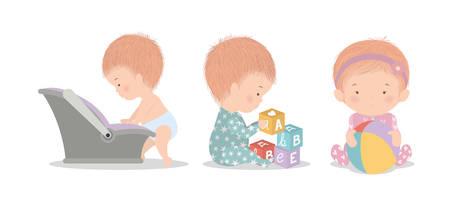Set of cute babies design, Child newborn childhood kid innocence and little theme Vector illustration