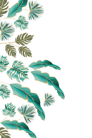 Tropical green leaves design, Nature summer plant botany tree and decoration theme Vector illustration 向量圖像