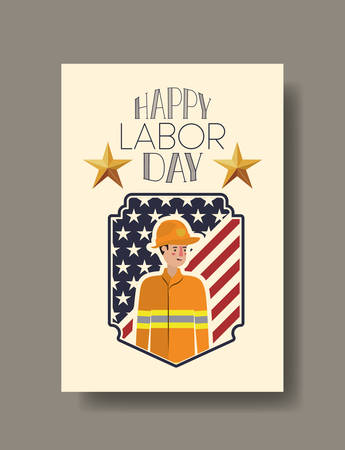 Firefighter man design, Labor day usa america september national holiday and celebration theme Vector illustration