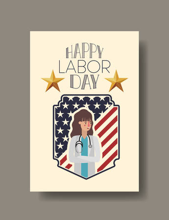 Doctor woman design, Labor day usa america september national holiday and celebration theme Vector illustration