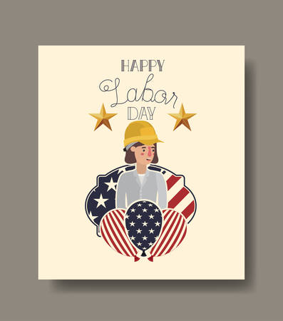 Builder woman design, Labor day usa america september national holiday and celebration theme Vector illustration 일러스트