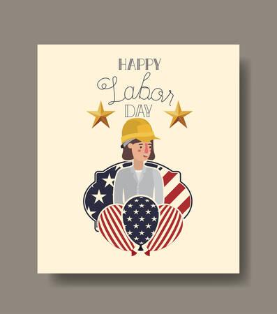 Builder woman design, Labor day usa america september national holiday and celebration theme Vector illustration Illustration