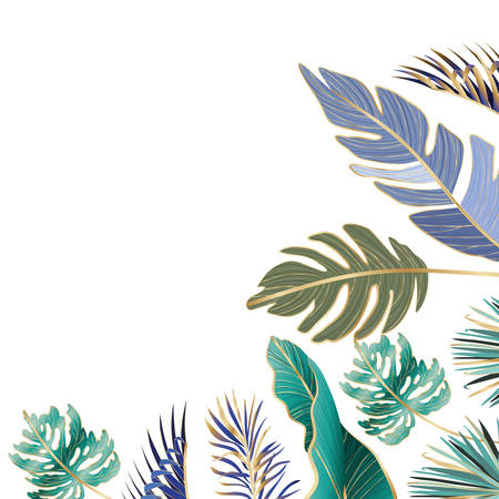Tropical green and blue leaves design, Nature summer plant botany tree and decoration theme Vector illustration 向量圖像