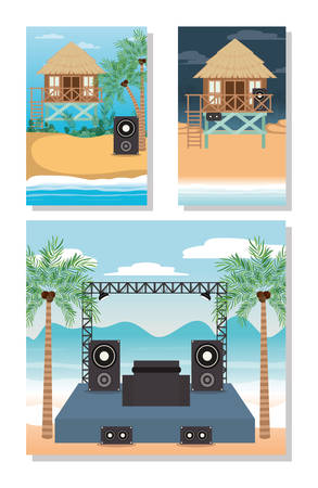 Music concert and hut design, Hello summer vacation beach tropical relaxation outdoor nature tourism island and season theme Vector illustration