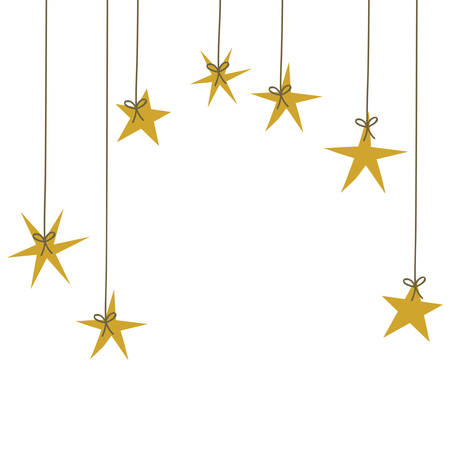Sterne hängendes Design, Dekorationspreis-Erfolgsstil-Webbewertung und Qualitätsthema Vektorillustration