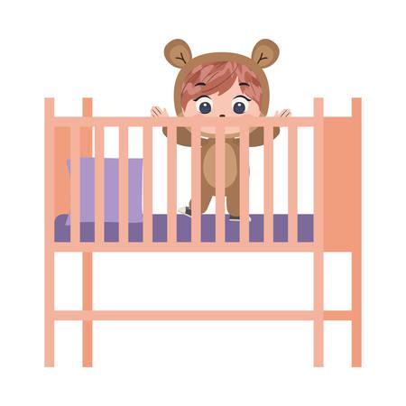 Caricature de garçon à l'intérieur de la conception du berceau, mode de vie des petites personnes de l'enfance pour enfants et thème de la personne Illustration vectorielle Vecteurs