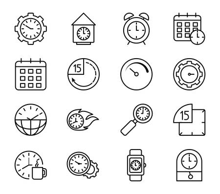 Clocks instruments icon set design, Time tool watch second deadline measure countdown and object theme Vector illustration Vector Illustratie