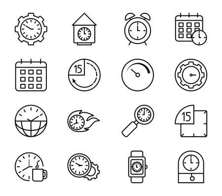 Horloges instruments icon set design, Time tool watch deuxième date limite de mesure du compte à rebours et thème de l'objet Vector illustration Vecteurs