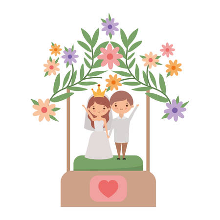 Bride and groom cartoon design, Wedding marriage love celebration invitation and engagement theme Vector illustration