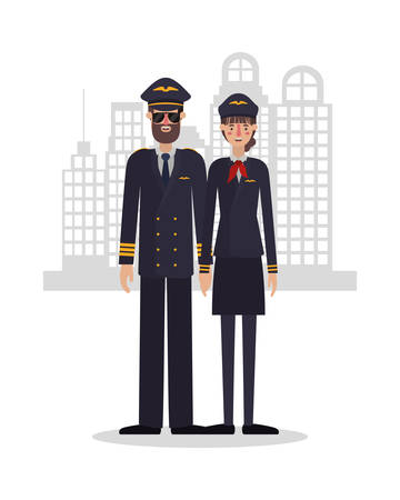 Woman and man pilots design, Working occupation person job corporate employee and service theme Vector illustration