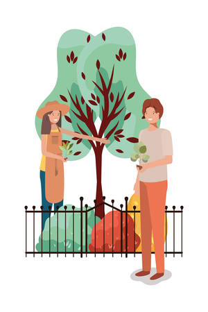 Woman man and gardening concept design, Garden planting nature ecology outdoors and floral theme Vector illustration Illusztráció