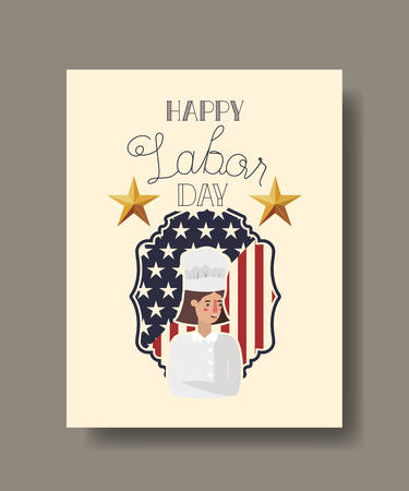 Chef woman design, Labor day usa america september national holiday and celebration theme Vector illustration Illustration
