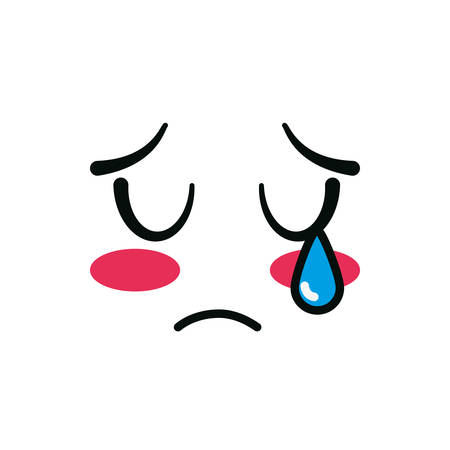 weeping face cartoon design, Kawaii expression cute character funny and emoticon theme Vector illustration